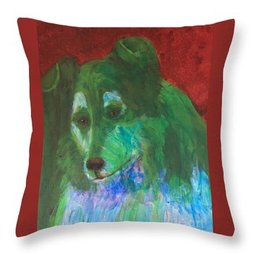 Throw Pillow featuring the painting Green Collie by Donald J Ryker III
