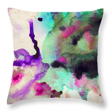 Green Color Splash Throw Pillow