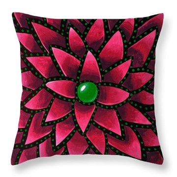 Green Core - Abstract Art Throw Pillow