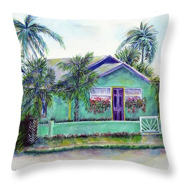 Green Cottage Throw Pillow by Loretta Luglio