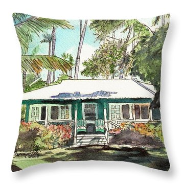 Green Cottage Throw Pillow by Marionette Taboniar