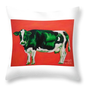 Green Cow Throw Pillow