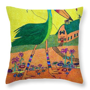 Green Crane With Leggings And Painted Toes Throw Pillow