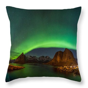 Green Curtains Throw Pillow
