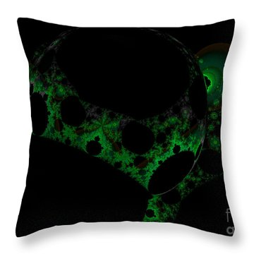 Green Darkness Galaxy Fractal  Throw Pillow