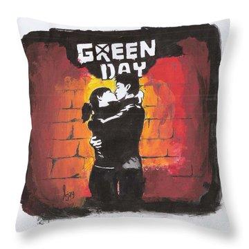 Green Day Throw Pillow by Ajay Atroliya