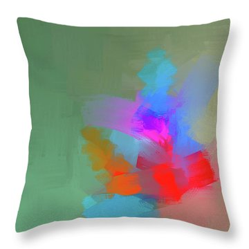 Throw Pillow featuring the mixed media Green Day by Eduardo Tavares