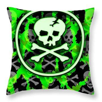 Green Deathrock Skull Throw Pillow by Roseanne Jones