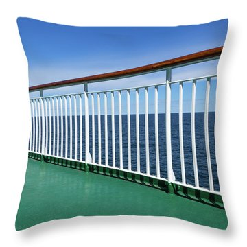 Green Deck Of A Passenger Ship Throw Pillow