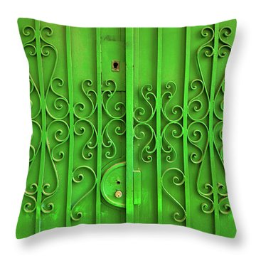 Throw Pillow featuring the photograph Green Door by Carlos Caetano