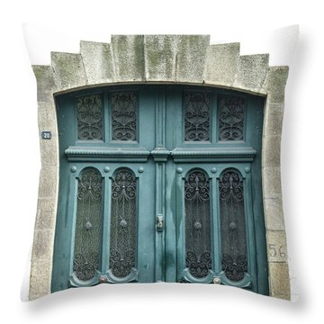 Green Door Throw Pillow by Helen Northcott