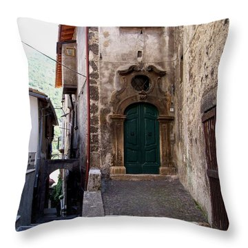 Throw Pillow featuring the photograph Green Door by Judy Kirouac