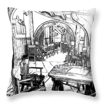 Throw Pillow featuring the drawing Green Dragon Inn Nook by Kathy Kelly