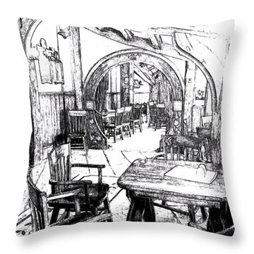 Throw Pillow featuring the drawing Green Dragon Inn's Writing Nook T-shirt by Kathy Kelly