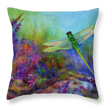 Green Dragonfly Throw Pillow by Claire Bull