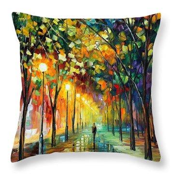 Green Dreams Throw Pillow by Leonid Afremov