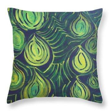 Green Drops Throw Pillow by Jasmine Tolmajian