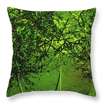 Throw Pillow featuring the painting Green Explosions - Green Modern Art by Lourry Legarde