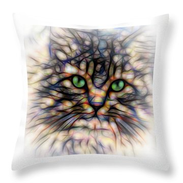 Green Eye Kitty Square Throw Pillow by Terry DeLuco
