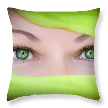 Green-eyed Girl Throw Pillow