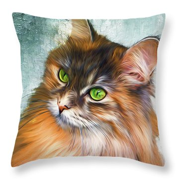 Green-eyed Maine Coon Cat - Remastered Throw Pillow