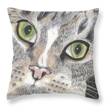 Green Eyes Throw Pillow by Arlene Crafton