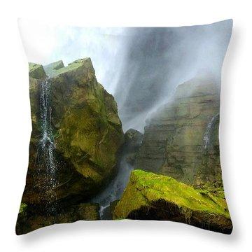 Green Falls Throw Pillow