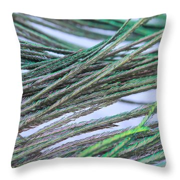 Green Feathers Throw Pillow