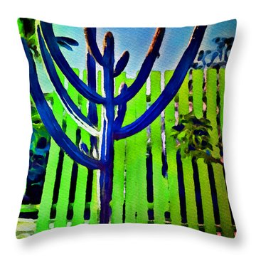 Green Fence Throw Pillow