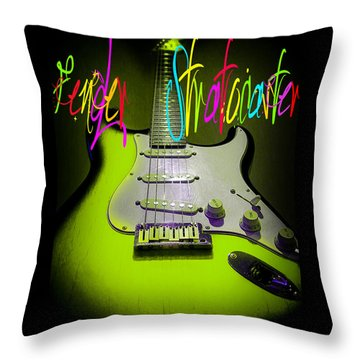Green Stratocaster Guitar Throw Pillow