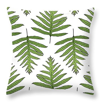 Green Fern Array Throw Pillow