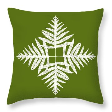 Green Fern Diamond Throw Pillow