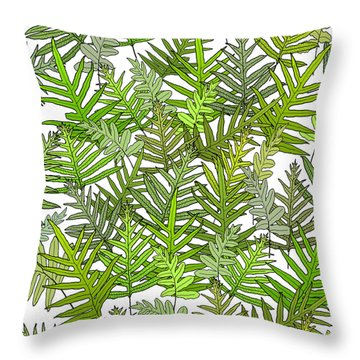 Green Fern Tangle On White Throw Pillow