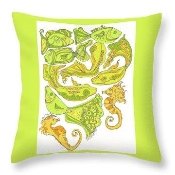 Green Fish Throw Pillow by Linda Kay Thomas