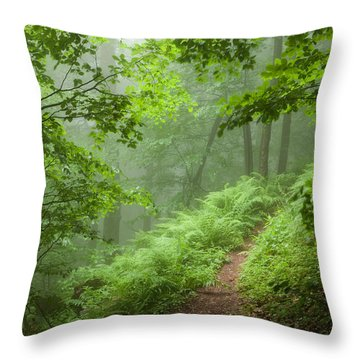 Green Forest Throw Pillow by Evgeni Dinev