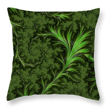 Green Fronds Throw Pillow by Rajiv Chopra