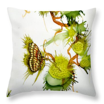 Green Fruit And Butterfly Throw Pillow