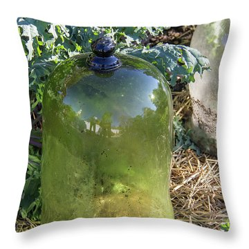 Green Garden Cloche Throw Pillow