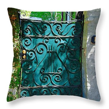 Green Gate Throw Pillow by Donna Bentley