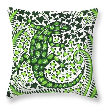 Green Gecko Throw Pillow