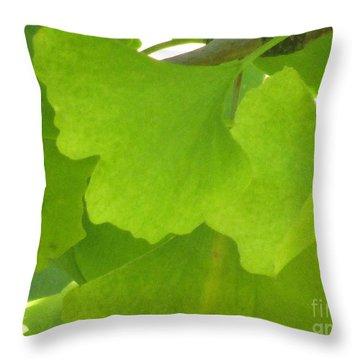 Green Ginkgo Throw Pillow