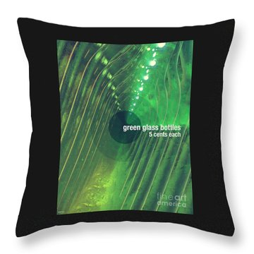 Throw Pillow featuring the photograph Green Glass Bottles by Phil Perkins