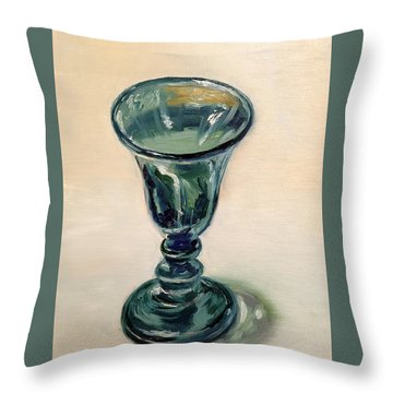 Green Glass Goblet Throw Pillow