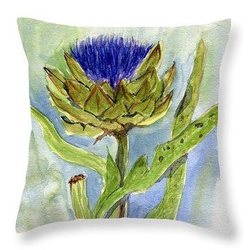 Green Globe Artichoke Bloom Throw Pillow