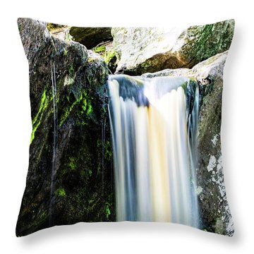 Green Glows On The Falls Throw Pillow