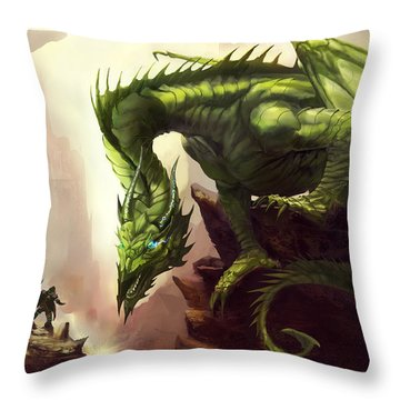 Green God Dragon Throw Pillow by Anthony Christou