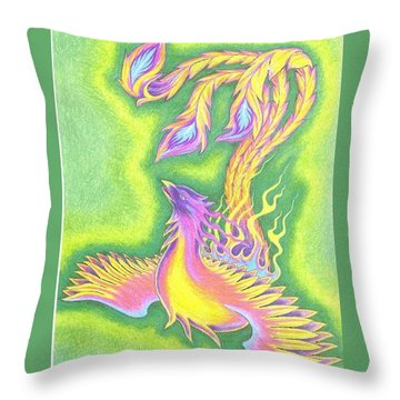 Green Gold Phoenix Throw Pillow