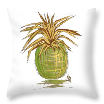 Green Gold Pineapple Painting Illustration Aroon Melane 2015 Collection By Madart Throw Pillow by Megan Duncanson