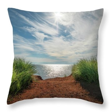 Throw Pillow featuring the photograph Green Grass And Red Sand by Chris Bordeleau