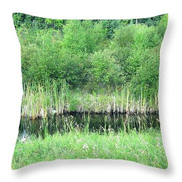 Green Grass Black Water Throw Pillow